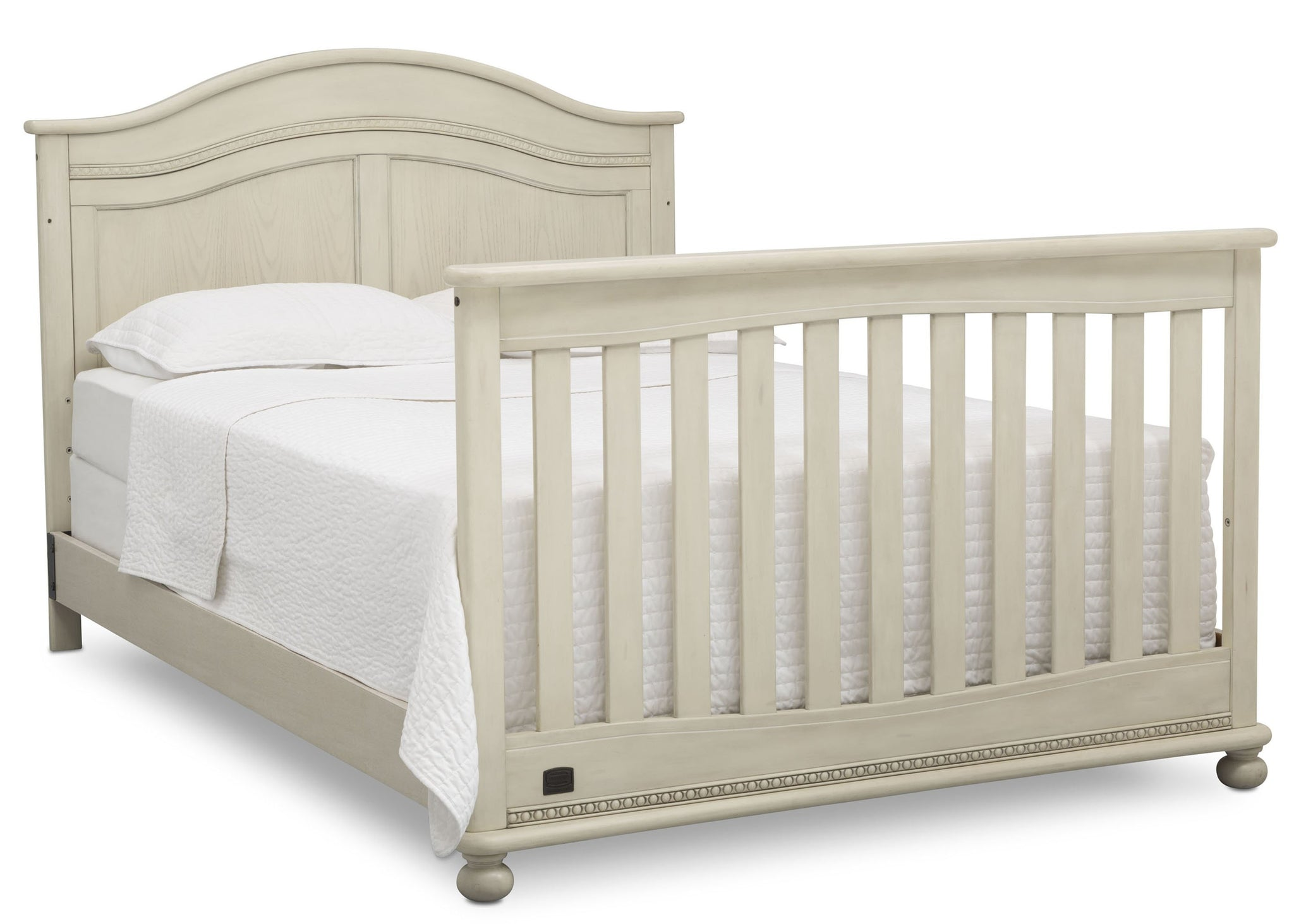 Simmons Kids Antique White (122) Bedford 4-in-1 Convertible Crib (W337150) Full bed, a6a