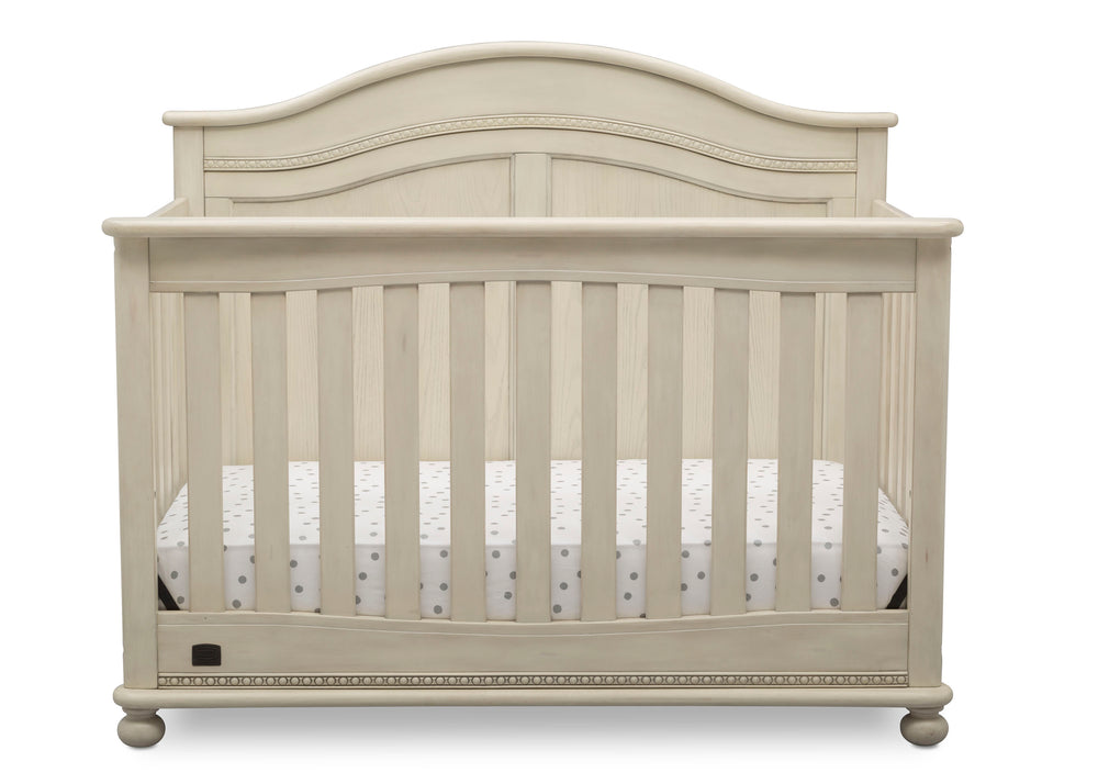 Simmons Kids Antique White (122) Bedford 4-in-1 Convertible Crib (W337150) Front Silo, a2a