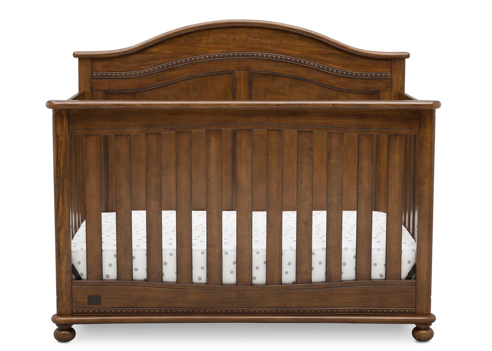 Simmons Kids Antique Chestnut (2100) Bedford 4-in-1 Convertible Crib (W337150), Front Silo, c2c