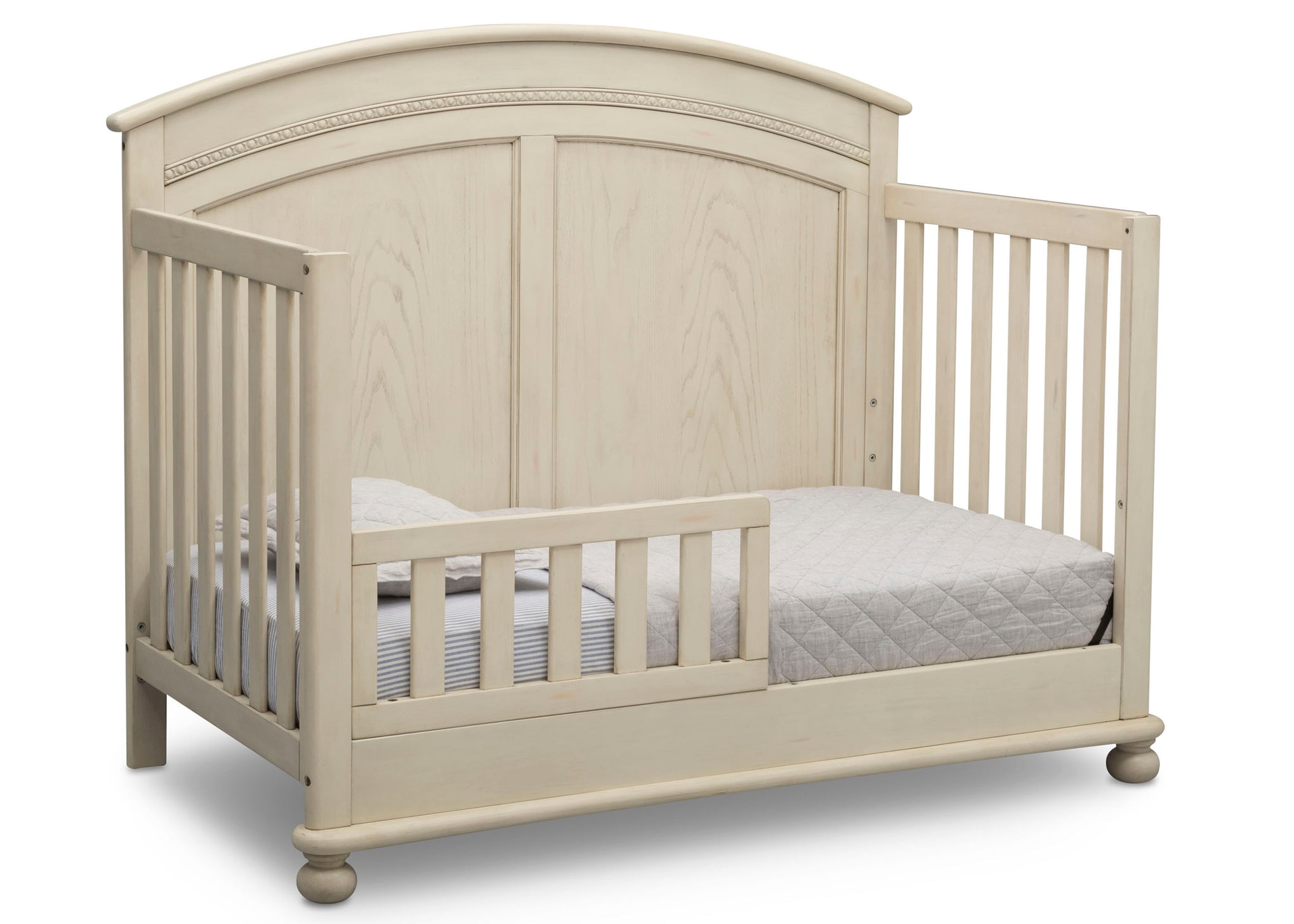Simmons Kids Antique White (122) Ainsworth 4-in-1 Convertible Crib (W337250), Toddler Bed Conversion, a4a