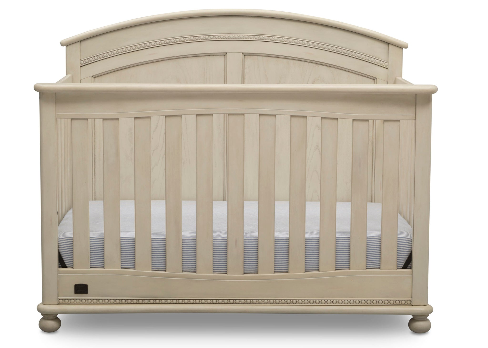 Simmons Kids Antique White (122) Ainsworth 4-in-1 Convertible Crib (W337250), Front Silo, a2a
