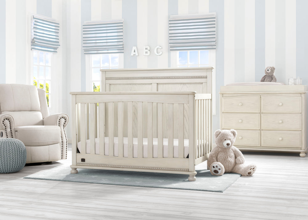 Delta Children Antique White (122) Fontana 4-in-1 Convertible Crib (W337350) Room View, a1a
