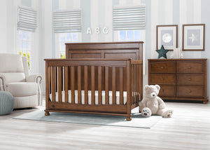 Delta Children Antique Chestnut (2100) Fontana 4-in-1 Convertible Crib (W337350) Room View, c1c