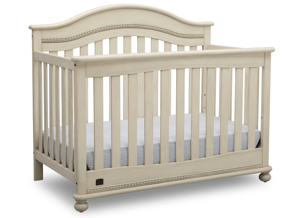 Delta Children Antique White (122) Bristol 4-in-1 Convertible Crib (W337450) Right Facing Silo, a3a