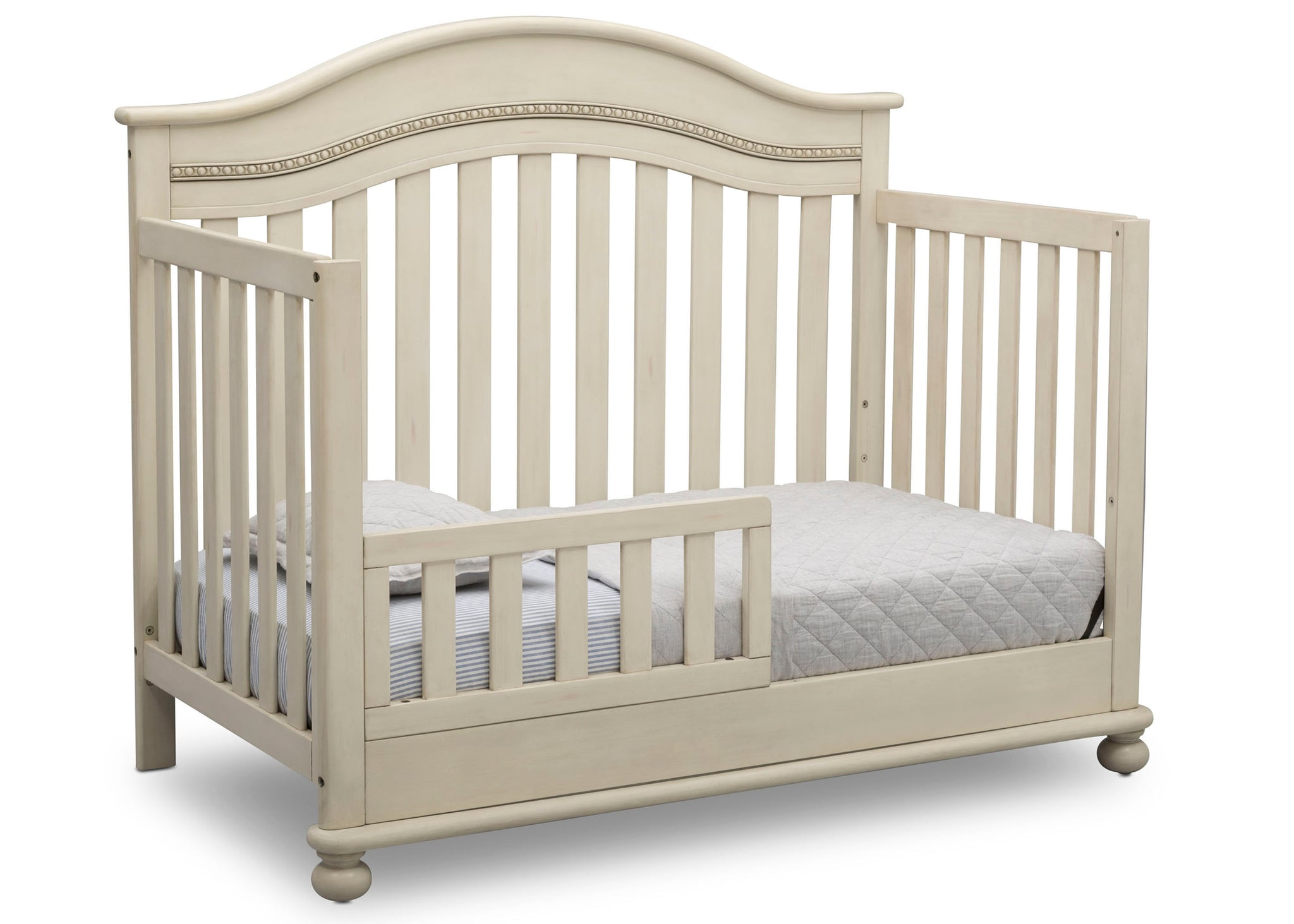 Delta Children Antique White (122) Bristol 4-in-1 Convertible Crib (W337450) Toddler Bed Conversion, a4a