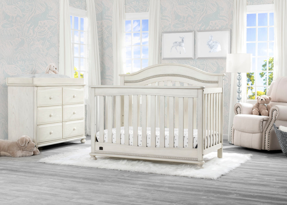 Delta Children Antique White (122) Bristol 4-in-1 Convertible Crib (W337450) Room View, a1a
