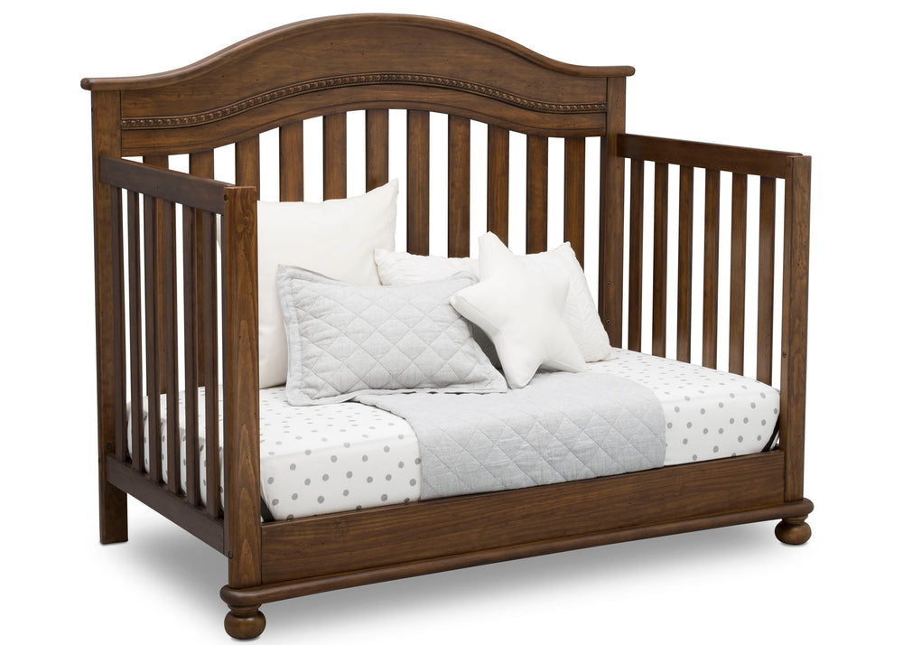 Delta Children Antique Chestnut (2100) Bristol 4-in-1 Convertible Crib (W337450) Day Bed Conversion, c5c
