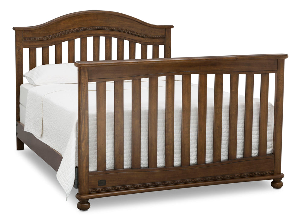 Delta Children Antique Chestnut (2100) Bristol 4-in-1 Convertible Crib (W337450) Full Bed Conversion, c6c