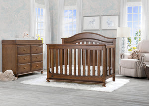 Delta Children Antique Chestnut (2100) Bristol 4-in-1 Convertible Crib (W337450)  Room View, c1c