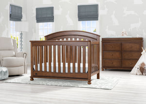 Delta Children Antique Chestnut (2100) Aden 4-in-1 Convertible Crib (W337550) Room View, c1c