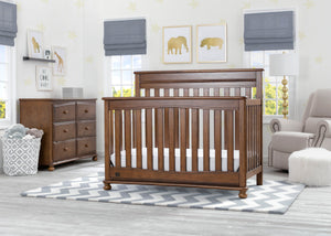 Delta Children Antique Chestnut (2100) Franklin 4-in-1 Convertible Crib (W337650) Room View, c1c