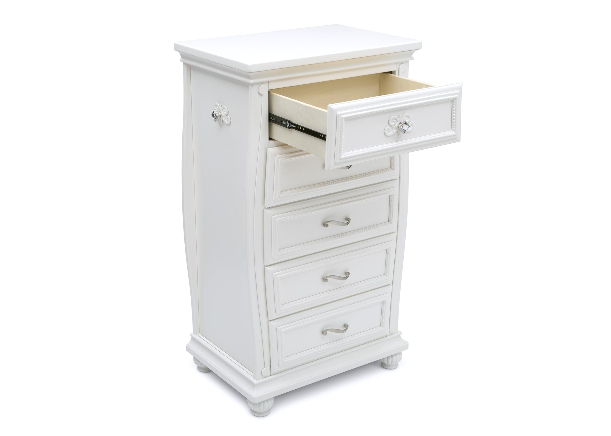 Simmons Kids Bianca White (130) Fairytale 5 Drawer Chest, Right Silo View with Open Drawer