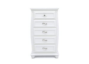 Simmons Kids Bianca White (130) Fairytale 5 Drawer Chest, Front Silo View