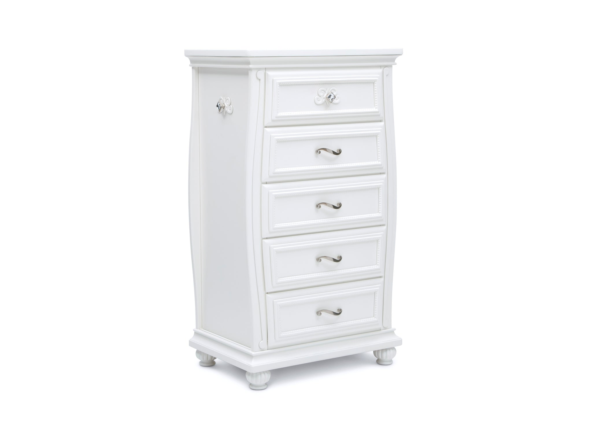Simmons Kids Bianca White (130) Fairytale 5 Drawer Chest, Right Silo View