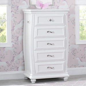 Simmons Kids Bianca White (130) Fairytale 5 Drawer Chest, Hangtag View