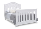 Simmons Kids Bianca White (130) Fairytale 5-in-1 Convertible Crib with Conversion Rails, Right Full Bed with Headboard and Footboard Silo View