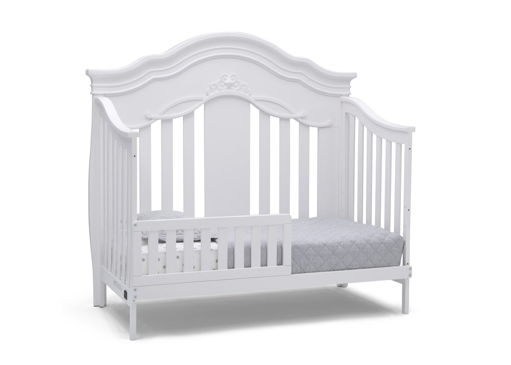Simmons Kids Bianca White (130) Fairytale 5-in-1 Convertible Crib with Conversion Rails, Right Toddler Bed Silo View