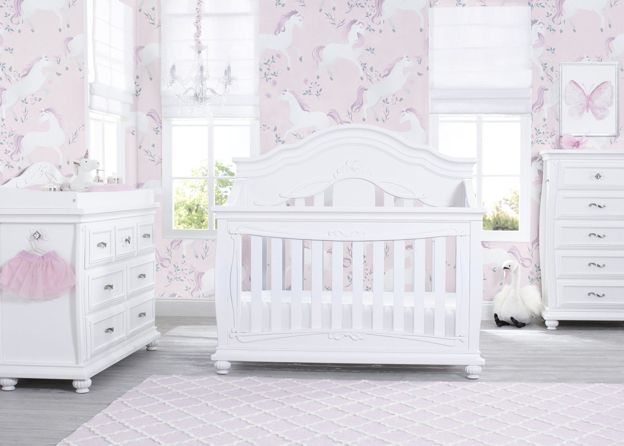 Simmons Kids Fairytale 5-in-1 Convertible Crib with Conversion Rails Bianca White (130), Room View