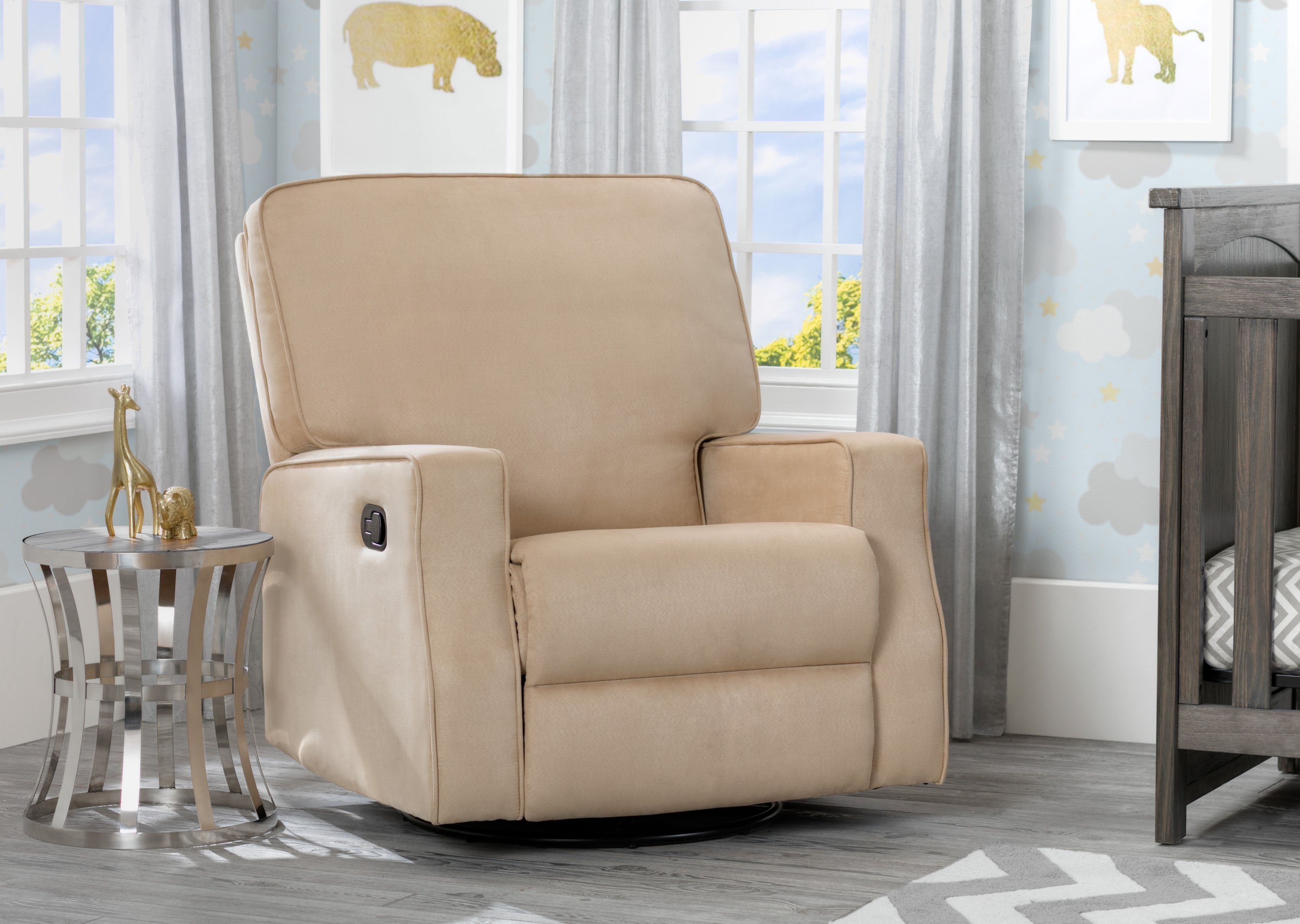 Delta Children Beige (276) Carson Nursery Recliner Swivel Glider Chair  (W3520210C), ...