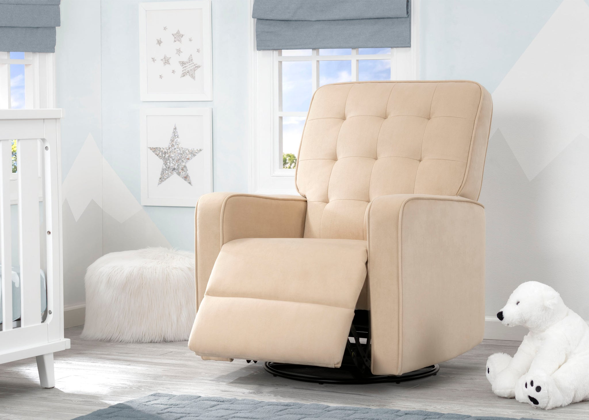 Delta Children Sisal (727) Graham Nursery Glider Swivel Recliner, Room Reclined View