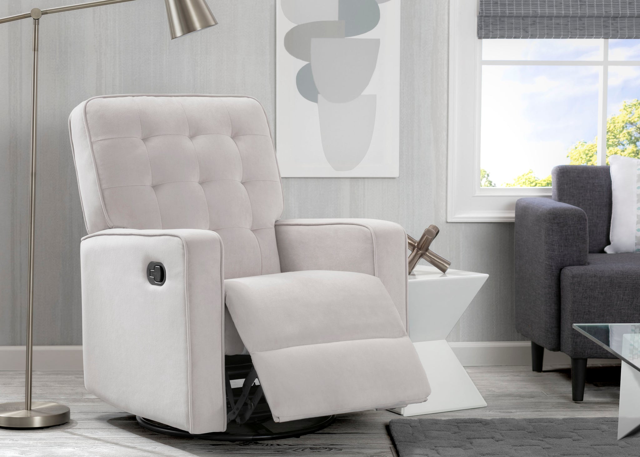 Delta Home Linen (150) Grant Glider Swivel Recliner, Room Reclined View