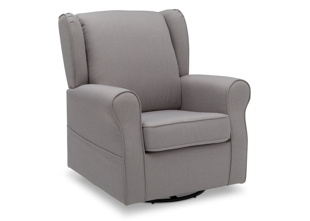 Delta Children French Grey (1304) Reston Nursery Glider Swivel Rocker Chair (W512310), Right Angle, e3e