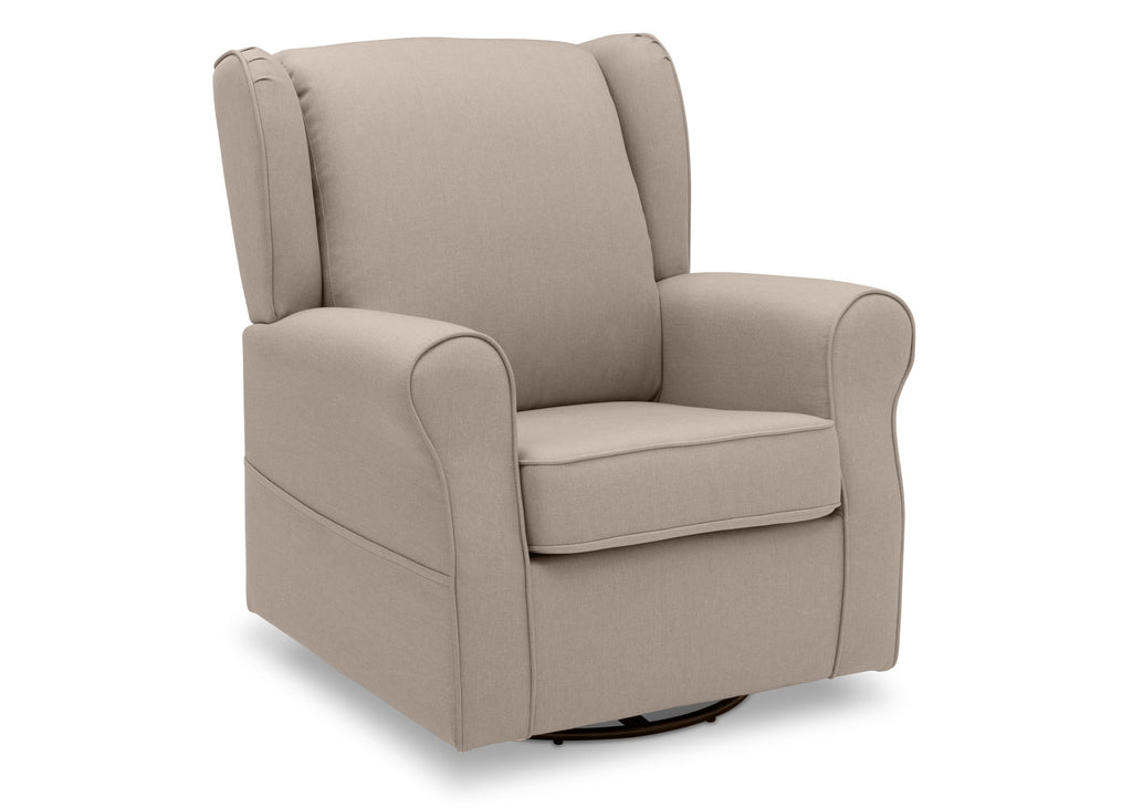 Delta Children Flax (710) Reston Nursery Glider Swivel Rocker Chair (W512310), Right Angle, c3c