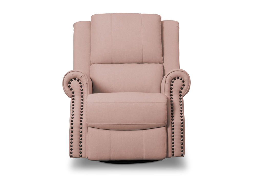Delta Children Blush (636) Drake Nursery Recliner Swivel Glider Chair (W3524310C), Front View, a3a