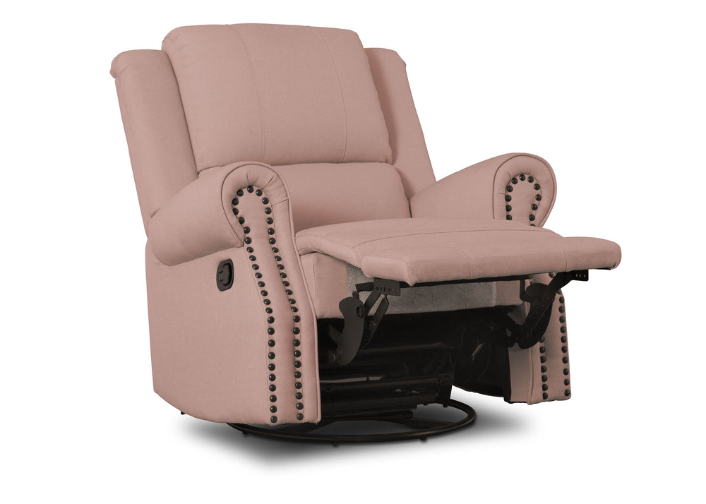 Delta Children Blush (636) Drake Nursery Recliner Swivel Glider Chair (W3524310C), Reclined, a4a