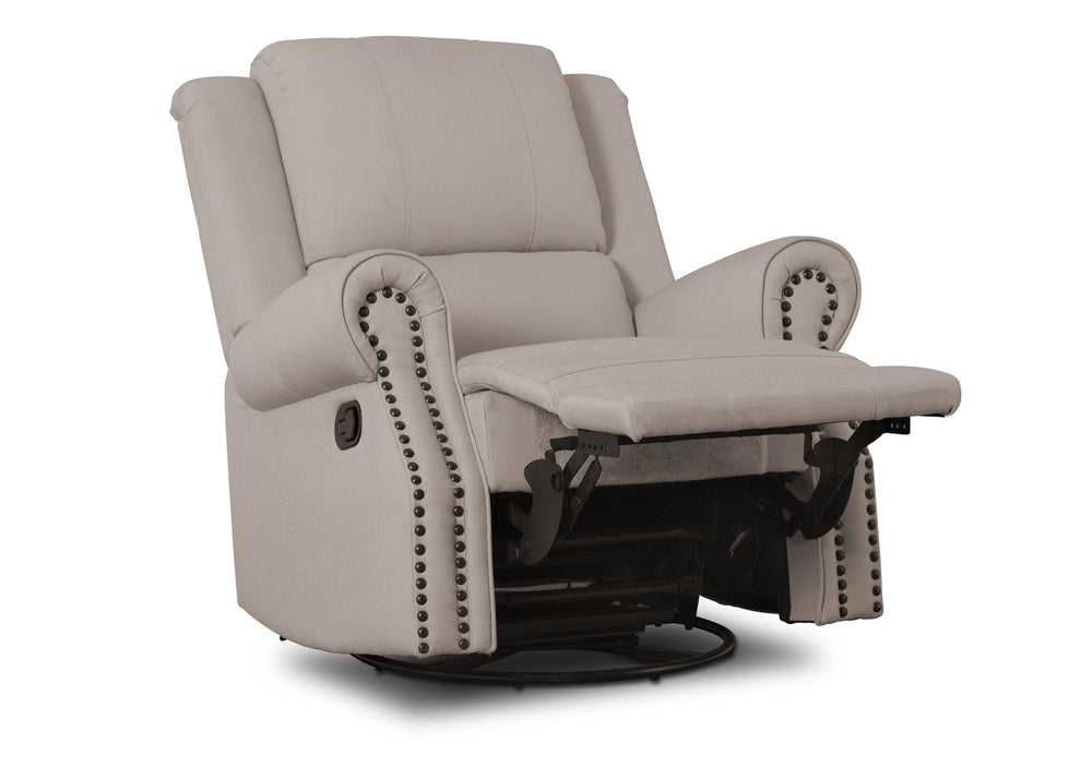 Delta Children Flax (710) Drake Nursery Recliner Swivel Glider Chair (W3524310C), Reclined, b4b
