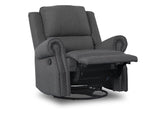 Delta Children Charcoal (931) Drake Nursery Recliner Swivel Glider Chair (W3524310C), Reclined, c4c