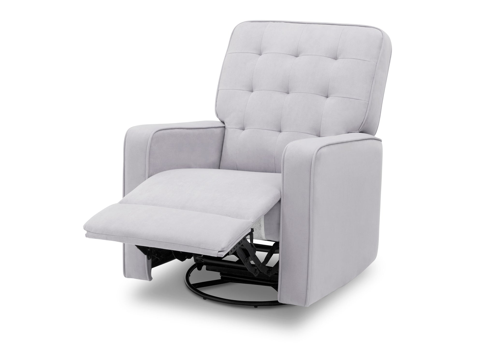 Delta Children Linen (150) Graham Nursery Glider Swivel Recliner, Left Reclined Silo View