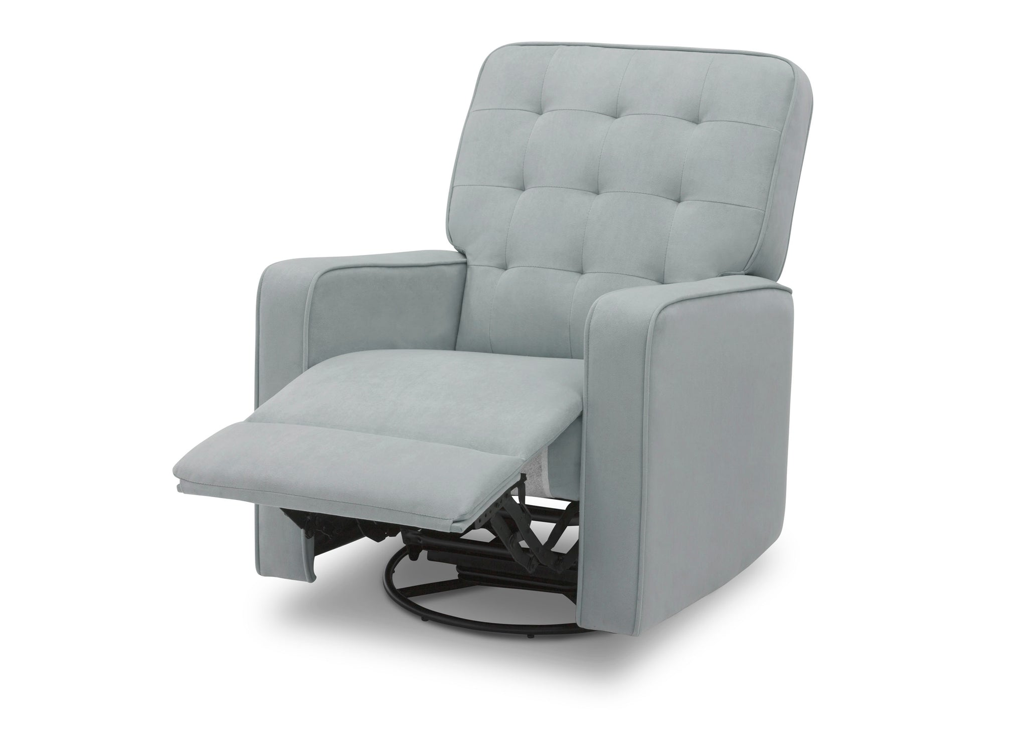 Delta Children Mist (934) Graham Nursery Glider Swivel Recliner, Left Reclined Silo View