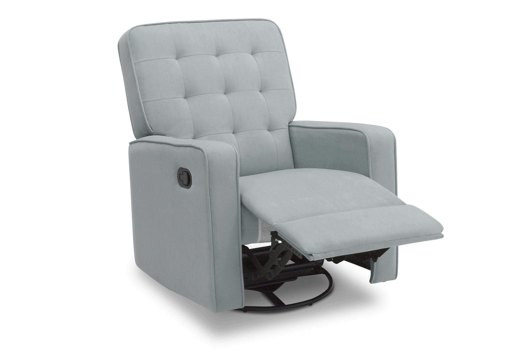Delta Children Mist (934) Graham Nursery Glider Swivel Recliner, Right Reclined Silo View