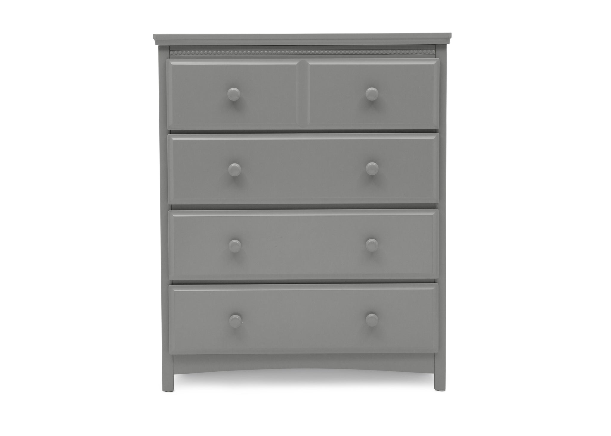 Delta Children Grey (026) Emerson 4 Drawer Chest, Front Silo View