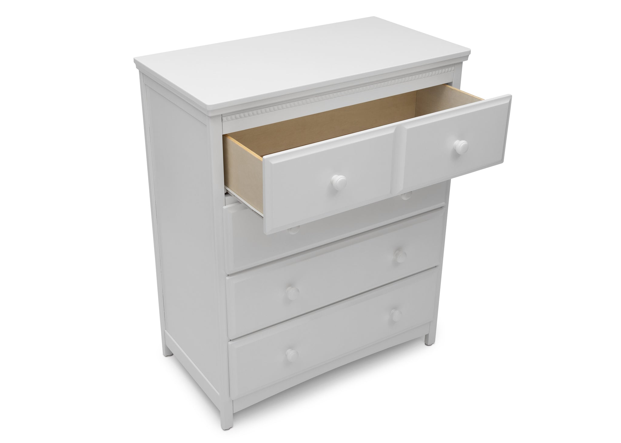 Delta Children Bianca White (130) Emerson 4 Drawer Chest, Open Drawer View