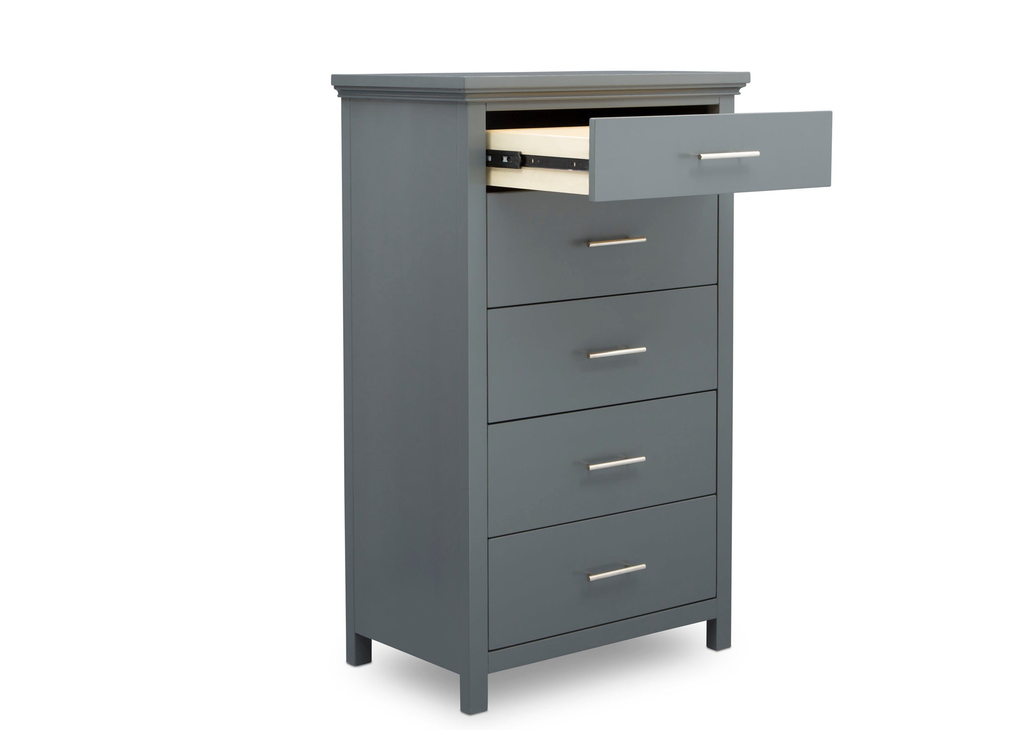 Simmons Kids Charcoal Grey (029) Avery 5 Drawer Chest, Right Silo Open Drawer View