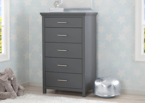 Simmons Kids Charcoal Grey (029) Avery 5 Drawer Chest, Hangtag View