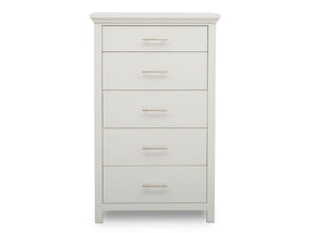 Simmons Kids Bianca White (130) Avery 5 Drawer Chest, Front Silo View