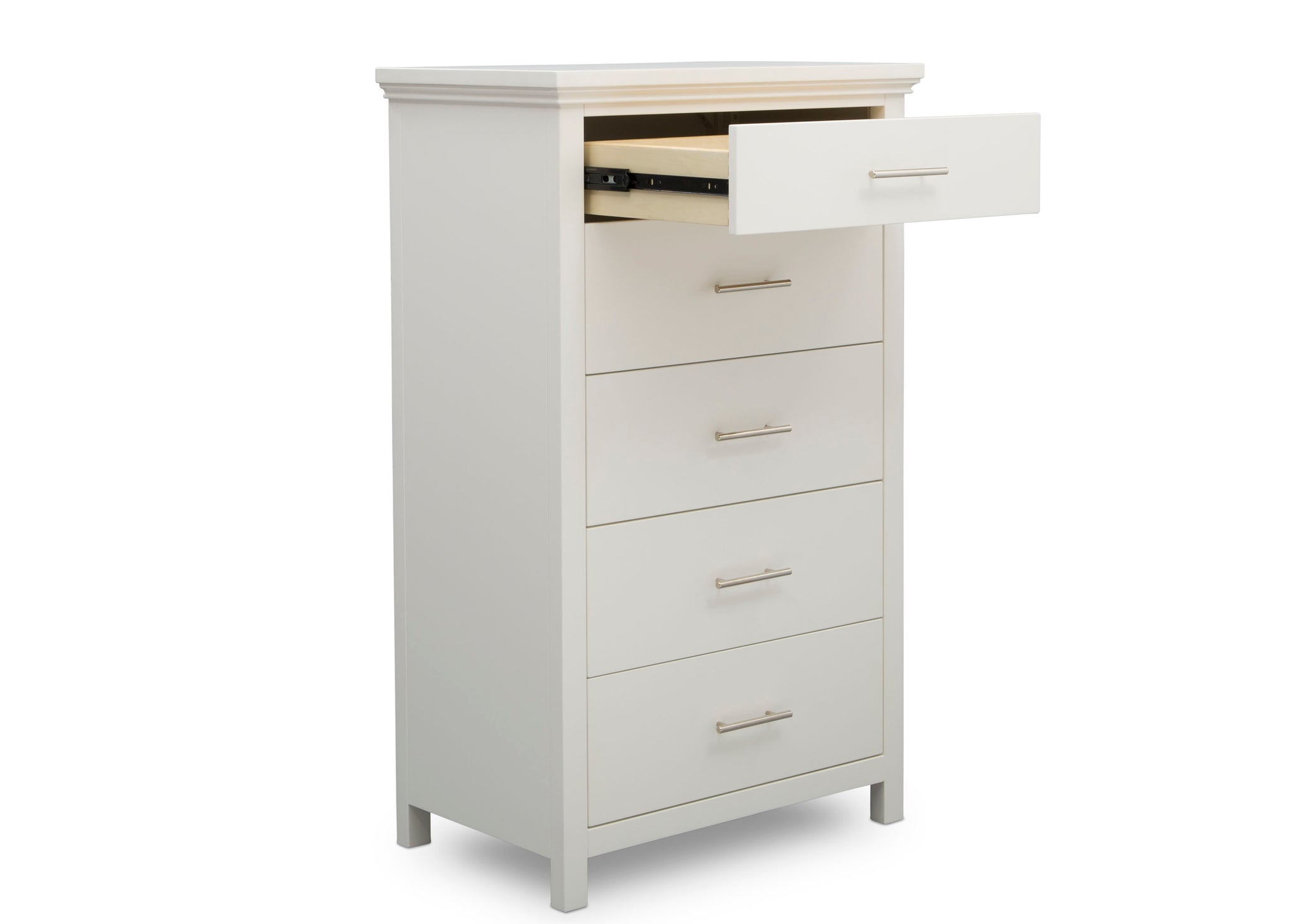 Simmons Kids Bianca White (130) Avery 5 Drawer Chest, Right Silo Open Drawer View