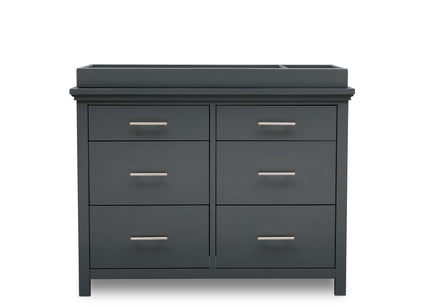 Simmons Kids Charcoal Grey (029) Avery 6 Drawer Dresser with Changing Top, Front Silo View