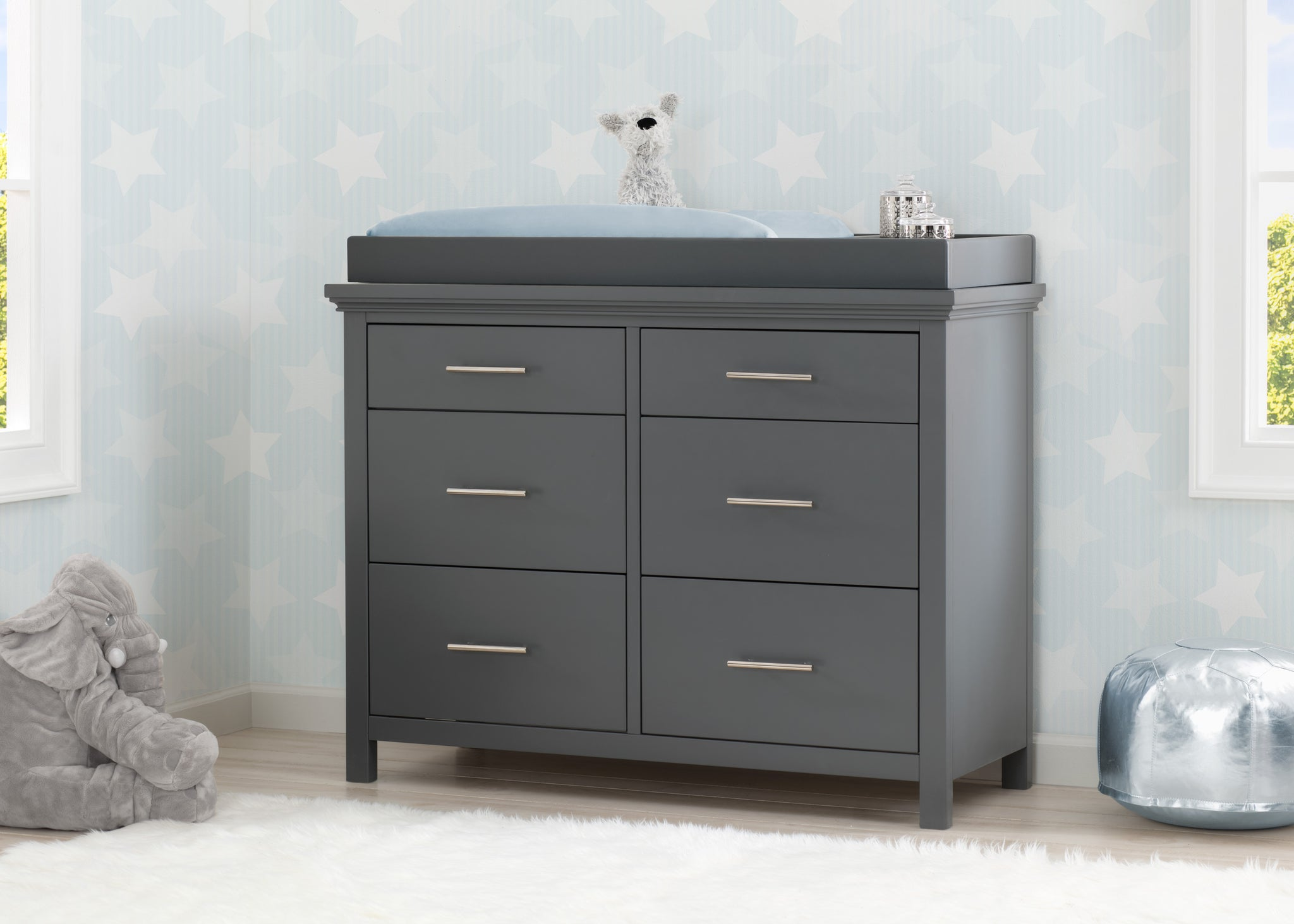 Simmons Kids Charcoal Grey (029) Avery 6 Drawer Dresser with Changing Top, Hangtag View