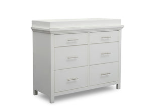 Simmons Kids Bianca White (130) Avery 6 Drawer Dresser with Changing Top, Right Silo View