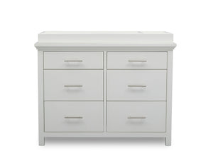 Simmons Kids Bianca White (130) Avery 6 Drawer Dresser with Changing Top, Front Silo View