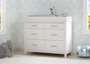 Simmons Kids Bianca White (130) Avery 6 Drawer Dresser with Changing Top, Hangtag View