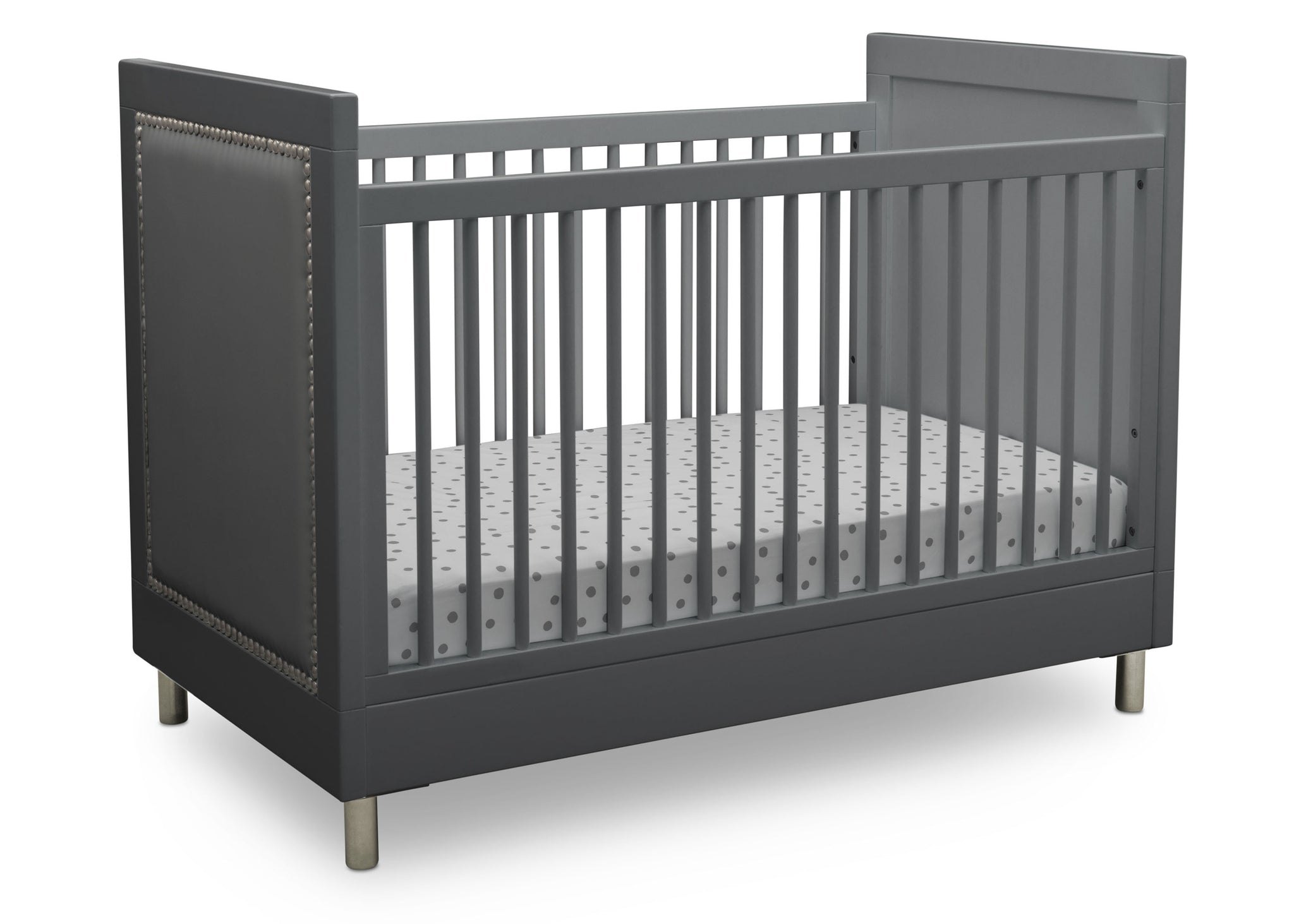 Simmons Kids Charcoal Grey (1323) Avery 3-in-1 Convertible Crib, Right Crib Silo View