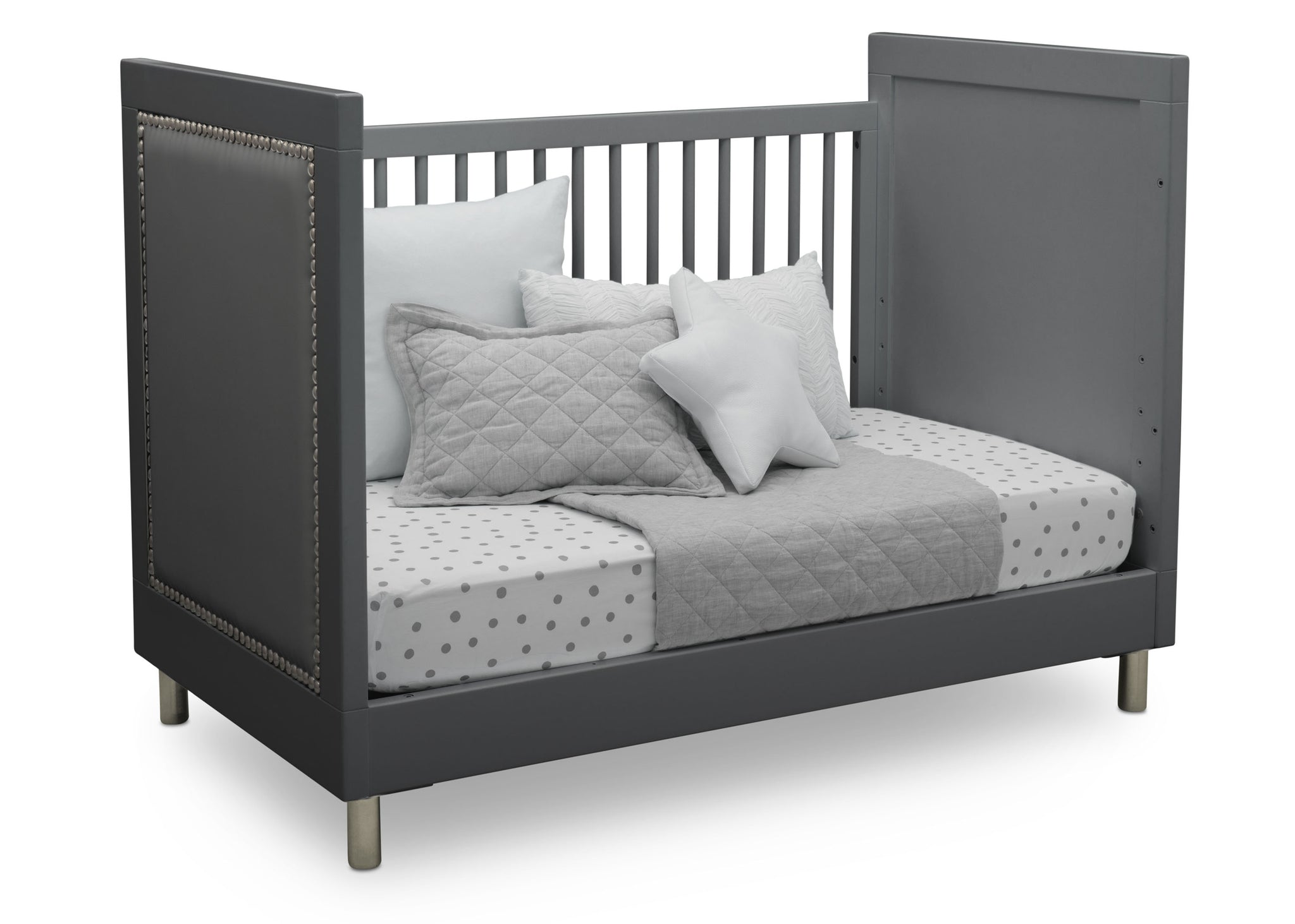 Simmons Kids Charcoal Grey (1323) Avery 3-in-1 Convertible Crib, Right Day Bed Silo View