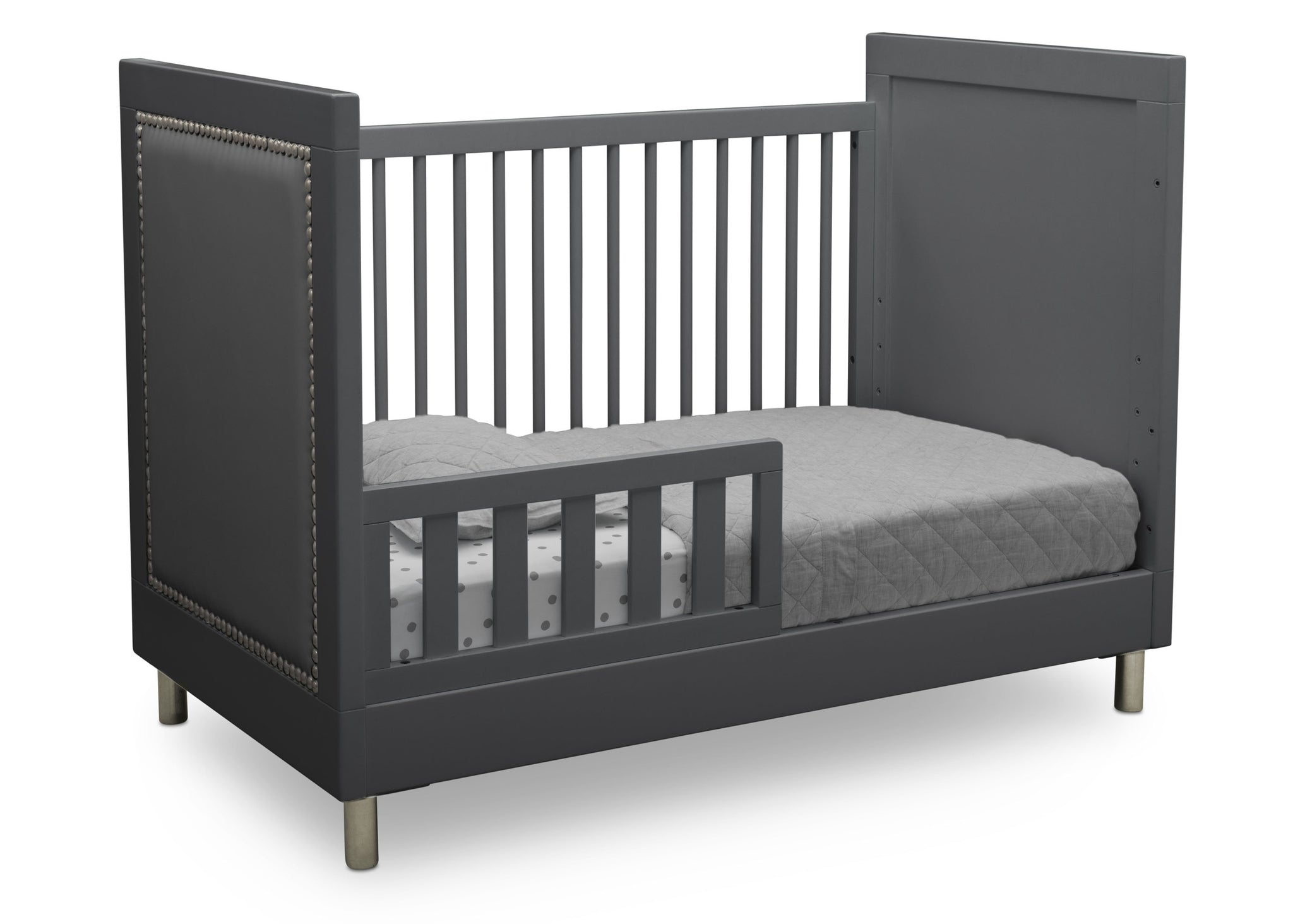 Simmons Kids Charcoal Grey (1323) Avery 3-in-1 Convertible Crib, Right Toddler Bed Silo View