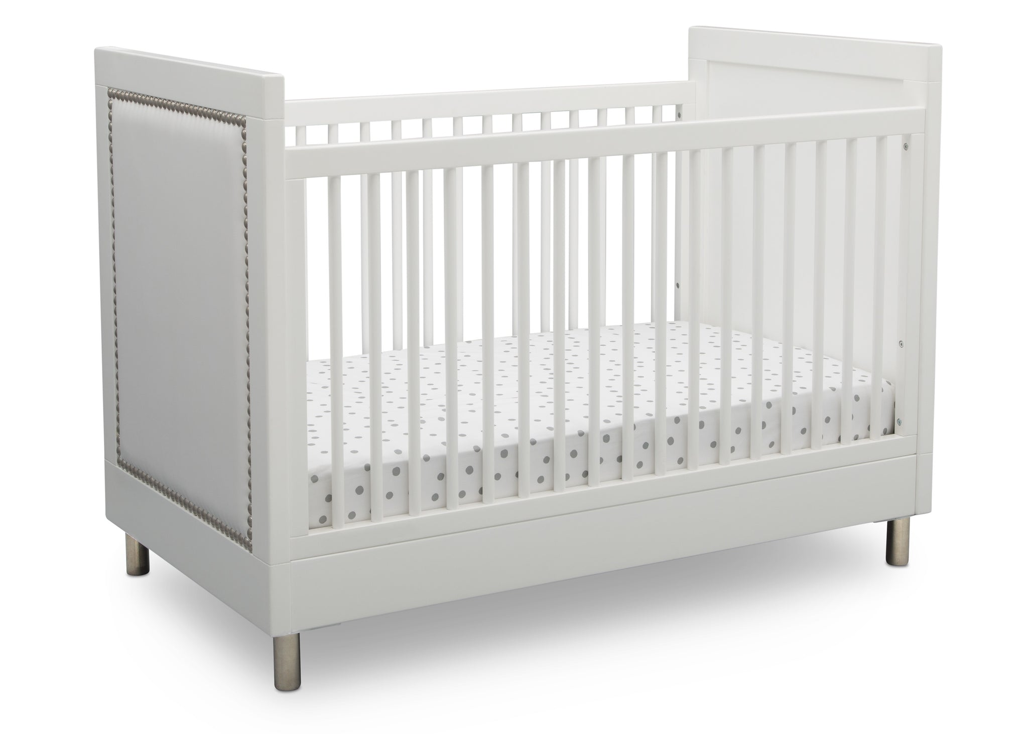 Simmons Kids Bianca White (1321) Avery 3-in-1 Convertible Crib, Right Crib Silo View