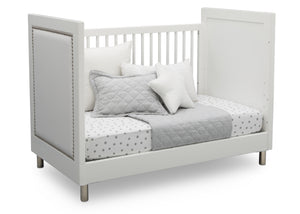 Simmons Kids Bianca White (1321) Avery 3-in-1 Convertible Crib, Right Day Bed Silo View